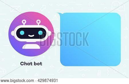 Chat Bot Banner Concept Illustration For Virtual Assistant, Talk Bubble Speech, Digital Marketing, C