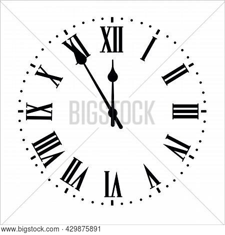 Round Clock Isolated On White Background. Minimal Concept. Flat Lay. Vector Illusration