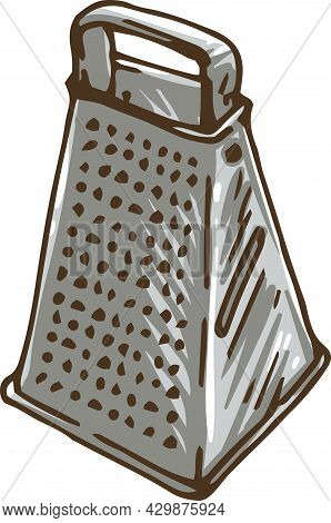 Stainless Steel Grater With Handle. Vector Illustration Isolated On White Background