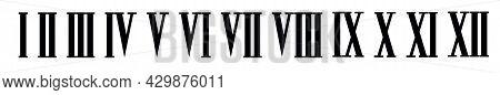 Roman Numerals Set Isolated On White Background. Vector Illusration