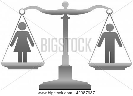 Equality scales weigh gender justice issues