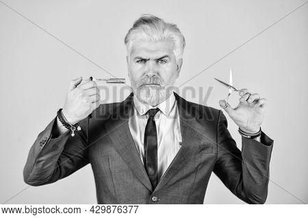 Bearded Man Hold Razor Scissors. Retro Barbershop. Hipster With Tools. Designing Haircut. Fresh Hair