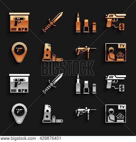 Set Gun Magazine And Bullets, Buying Gun Pistol, Advertising Weapon, Submachine M3, Location With, B