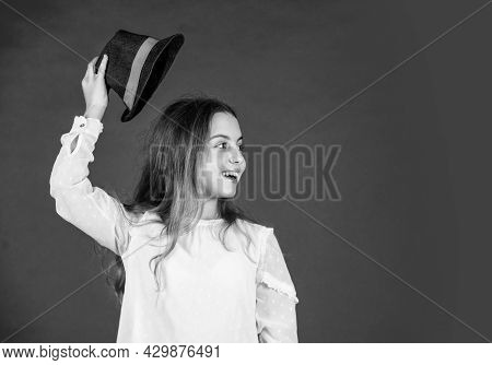 Protect Scalp Sun Rays. Fancy Girl. Spring Outfit. Individual Style. Girl Wear Hat Red Background. H