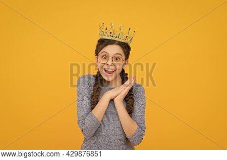 Long Awaited Reward. Little Smart Girl Wear Eyeglasses. Clever Child. Princess Concept. Girl Princes