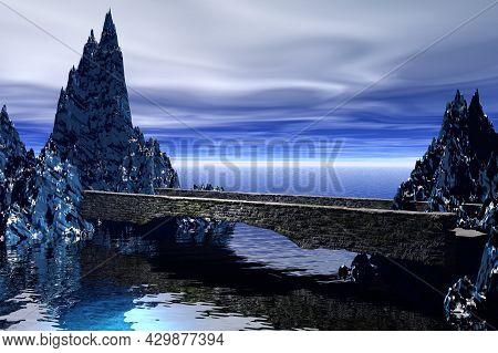 Bridge Between Rocks Empty Surreal Landscape 3d Rendering