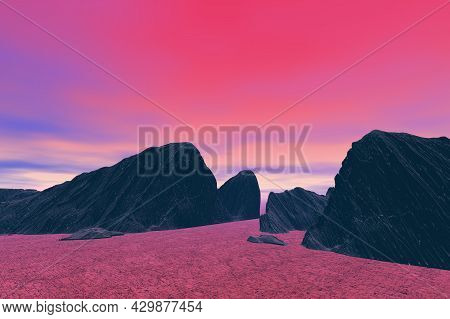 Rocks Silhouetted Against The Red Sky Surreal Scene 3d Rendering