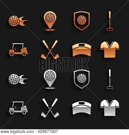 Set Crossed Golf Club, Golf, Shirt, Sun Visor Cap, Car, Ball With Shield, And Location Sport Icon. V