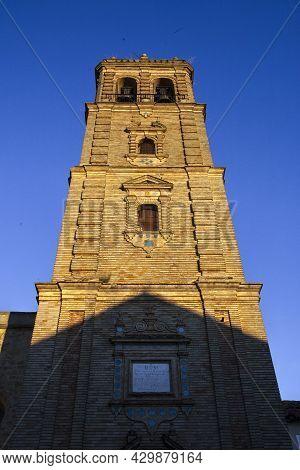 Parish Of Santiago Apostle Church Tower, Montilla, Spain. Gothic-mudejar Style. Sunset Shot