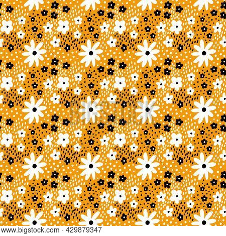 Ditsy Floral Vector Seamless Pattern. Small Black And White Meadow Flowers On Yellow Background. Tin