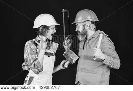 Home Renovation Service. Real Estate Deal. Couple Of Architect Wear Hardhat. New House Construction