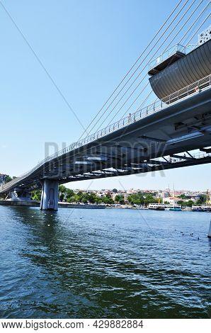 View Of The Bridge And The Sea Bay. Metro Bridge. Strait Of Bosphorus And Coastline. July 11, 2021,