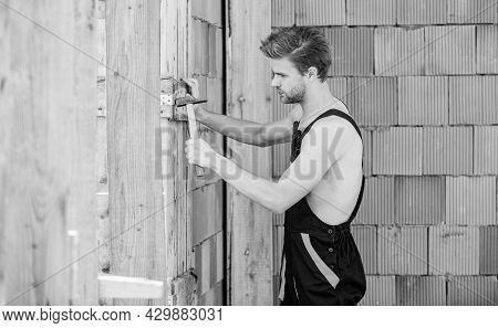 Ordinary Working Day. Worker Brick Wall Background. Engineer With Hammer Tool. Architect Repair And