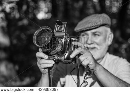 He Likes Birdwatching. Old Man Shoot Nature. Professional Photographer. Make Perfect Frame. Old Phot