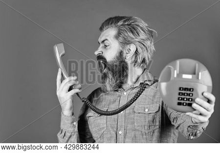 Sales Script. Answering Machine. Lead Generation Specialist. Bearded Man Phone Conversation. Outdate