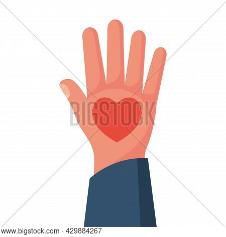 Heart In Hands. Vector Illustration Flat Design. Isolated On White Background. Concept Of Healthcare