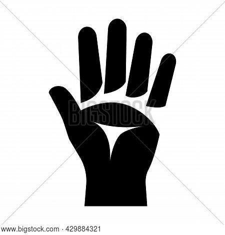 Black Silhouette Five Figures. Hand Gestures And Numbers. 5 Finger. Vector Illustration Flat Design.