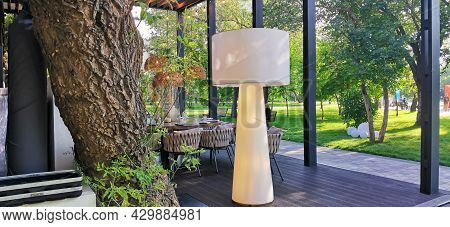 Terrace Of A Luxurious Restaurant In The Park Area. Modern Style Summer Terrace.