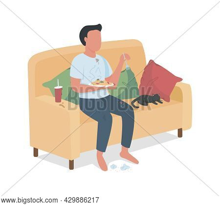 Careless Male Eating Junk Food On Sofa Semi Flat Color Vector Character. Full Body Person On White.