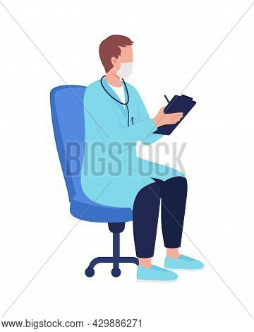 Physician With Medical Records Semi Flat Color Vector Character. Sitting Figure. Full Body Person On