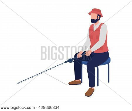 Middle Aged Man Fishing With Rod Semi Flat Color Vector Character. Full Body Person On White. Fishin