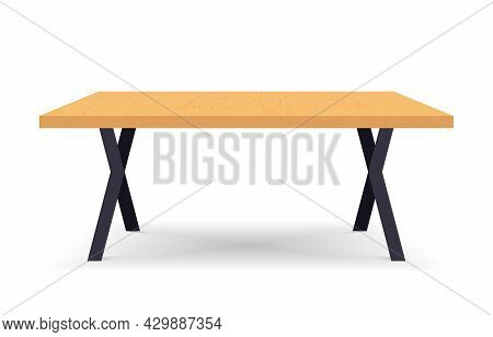 Empty Wooden Table. Rectangular Shaped Wood Table With Shadow. Platform. Front View. Template Design