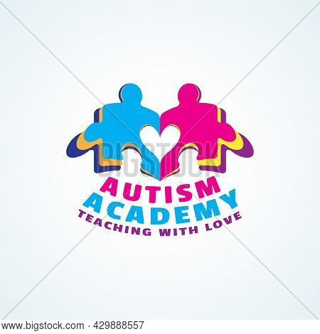 Playful Logo For Autism Academy. Colourful Kids Puzzle Book With Heart Shape. Tagline : Teaching Wit