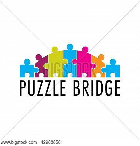 Colorful Puzzle Bridge Vector Design. Playful Logo For Autism. Suitable For Communities, Foundations