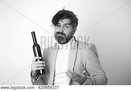 Surprised Drunken Dude In Business Blue Suit.