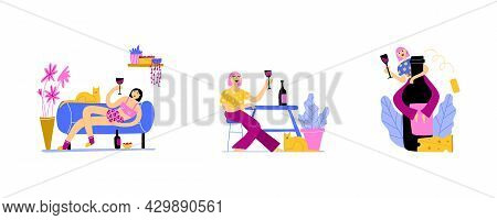 Woman With Wine. Happy Girl Drinking Wine At Home, Living Room Interior, Cat And Plants, Comfortable