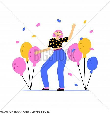 Woman Dancing On Party. Happy Girl With Colorful Balloons, Fun Festival People On Birthday, Music Fe