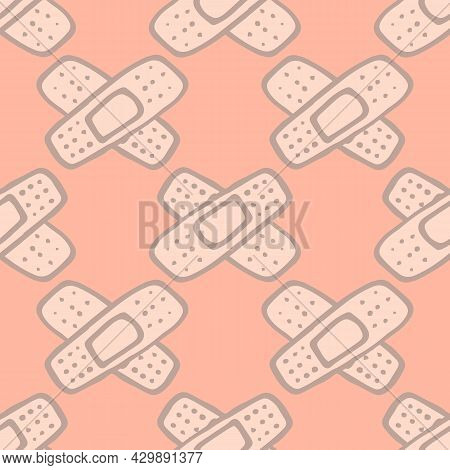 Vector Seamless Pattern Of Medical Patches Glued On Top Of Each Other In A Cross On A Cross. A Hand-
