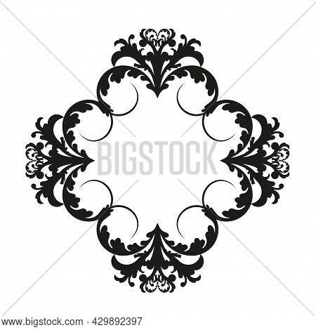 Vector Damask Vintage Baroque Scroll Ornament Swirl. Victorian Monogram Heraldic Shield Swirl.retro