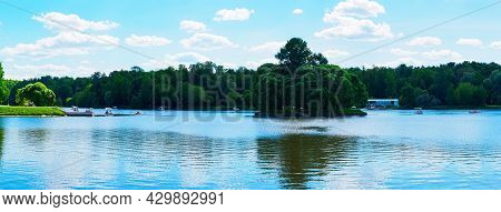 Moscow, Russia - May 25, 2021: View Of The Upper Tsaritsynsky Pond And The Lower Island On A Sunny D