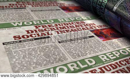 Prejudices, Discrimination, Social Inequalities And Bias Retro Newspaper Illustration