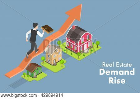 3d Isometric Flat Vector Conceptual Illustration Of Real Estate Demand Rise, Property Investment