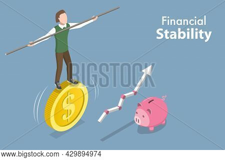 3d Isometric Flat Vector Conceptual Illustration Of Financial Stability, Business Risk Management