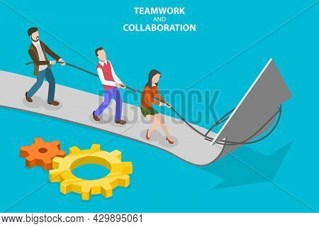 3d Isometric Flat Vector Conceptual Illustration Of Teamwork And Cooperation, Improving Team Collabo