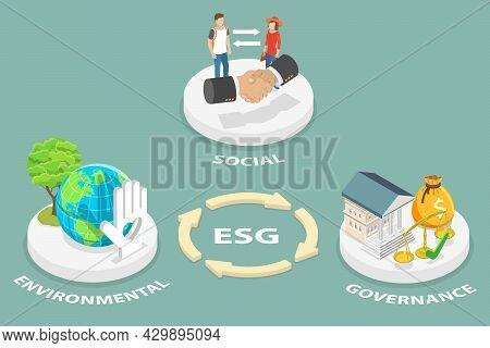 3d Isometric Flat Vector Conceptual Illustration Of Esg, Environmental Social Governance , Environme