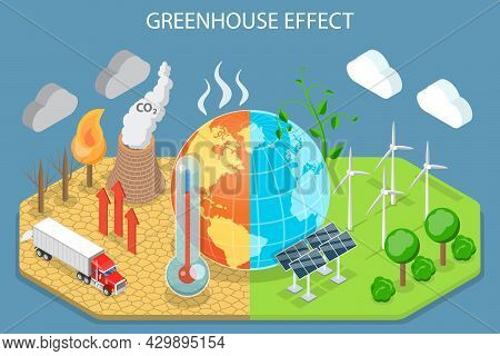 3d Isometric Flat Vector Conceptual Illustration Of Greenhouse Effect, Climate Change And Global War