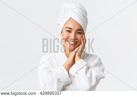 Personal Care, Women Beauty, Bath And Shower Concept. Close-up Of Beautiful Happy Asian Woman In Tow