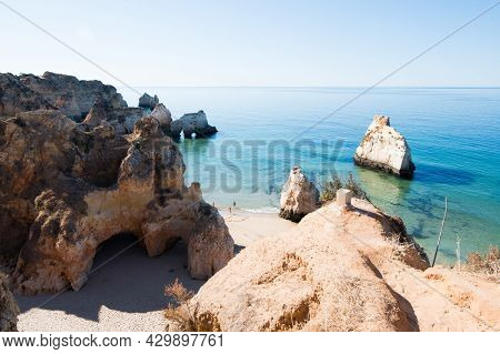 Sunny Day. Panoramic View From Above Of Beach Of The Three Brothers. Alvor, Portimao, Algarve, Portu