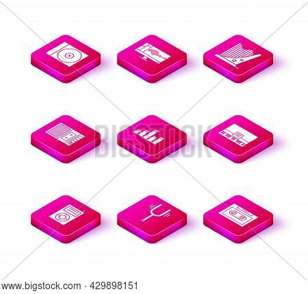 Set Music Mp3 Player, Musical Tuning Fork, Tape, Equalizer, Retro Audio Cassette, Piano, Harp And So