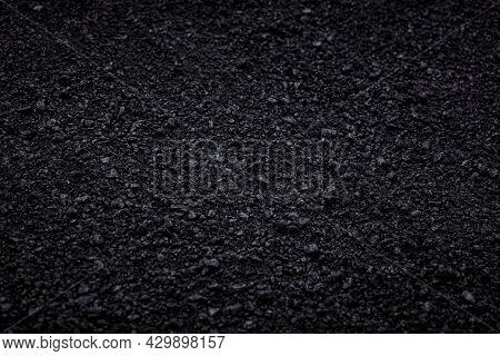 Surface Grunge Rough Of Asphalt, Seamless Tarmac Dark Grey Grainy Road, Texture Background
