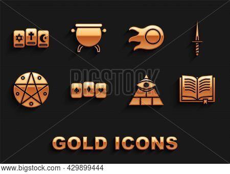 Set Playing Cards, Dagger, Ancient Magic Book, Masons, Pentagram Circle, Fireball, Three Tarot And W