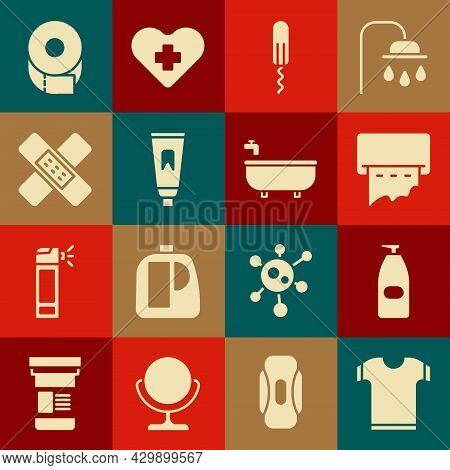 Set T-shirt, Bottle Of Liquid Antibacterial Soap, Paper Towel Dispenser On Wall, Sanitary Tampon, Tu