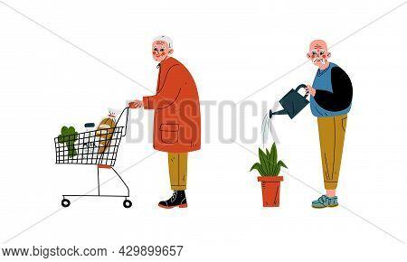 Senior Grey-haired Man Watering Plant And Pushing Shopping Cart Vector Set