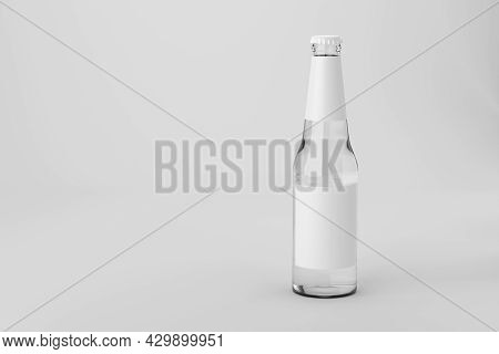 Clear Glass Drink Soda Clean Water With Blank Label. Mock Up Template Presentation. 3d Rendering Ill