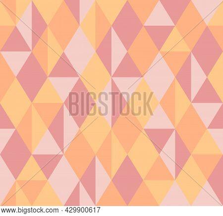 Abstract Background Pattern Seamless. Pastel Tones, Pink, Orange, Yellow. Geometric, Diamond Shape,