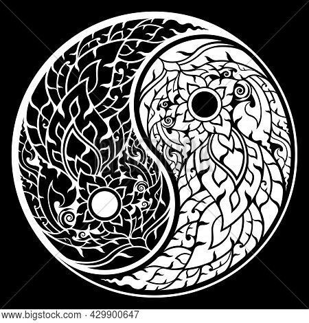 Pattern Thai Art. Yin Yang Shape In A Circle Black And White. Retro Antique Style. Decorative Design